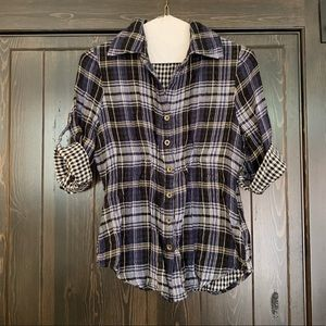 Blue plaid rolled sleeves flannel
